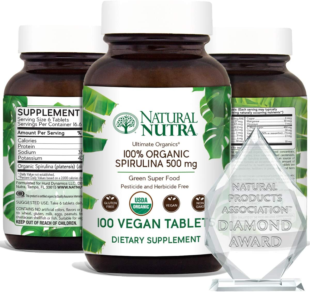 Natural Nutra 100 USDA Organic Spirulina Tablet