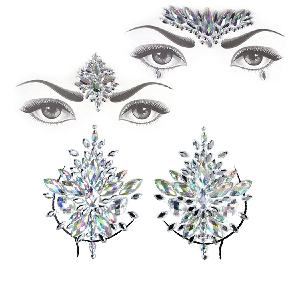 Face Jewels Gem Bindi Body Jewelry Nipple Stickers Rhinestone Tattoo Face Rocks by PIAOPIAONIU Baizhou Xu