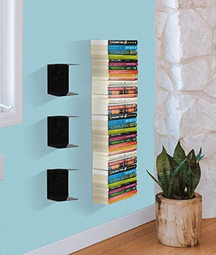 3. APPUCOCO Book Shelf Wall Mounted Heavy Duty Metal Invisible Book Shelves 3 Piece Per Pack (Made in India) with Screws & Plastic Anchors Included - Black