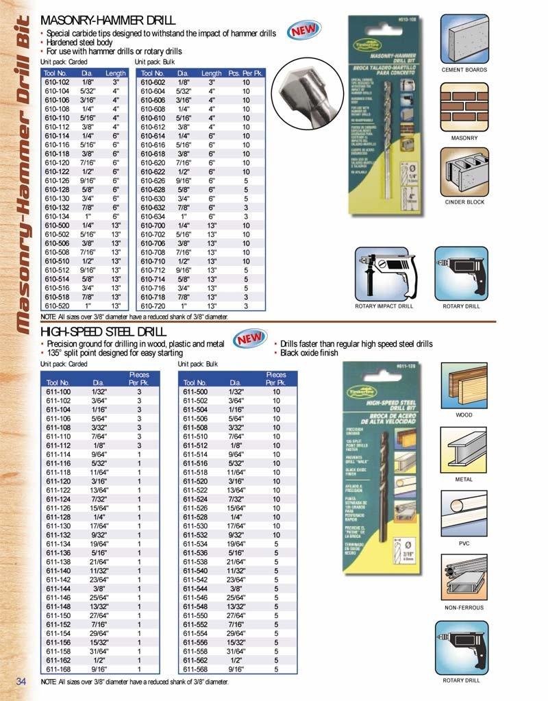 Timberline 610-104 5/32 Dia. Hammer Drill 4'' Long