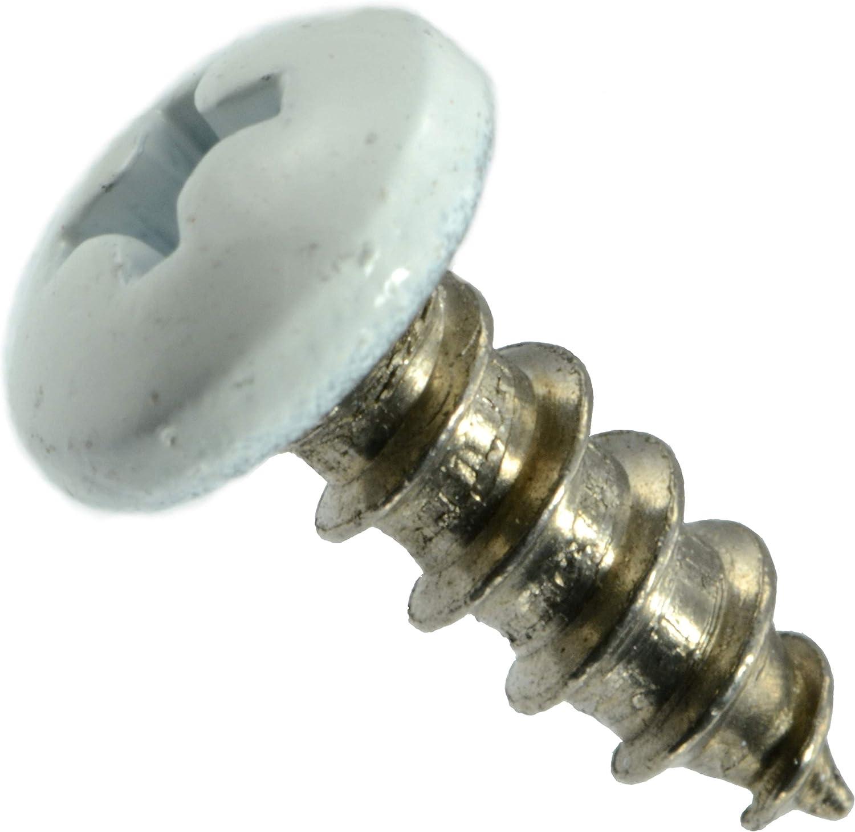 Piece-100 10 x 1//2 Hard-to-Find Fastener 014973208165 White Phillips Pan Sheet Metal Screws