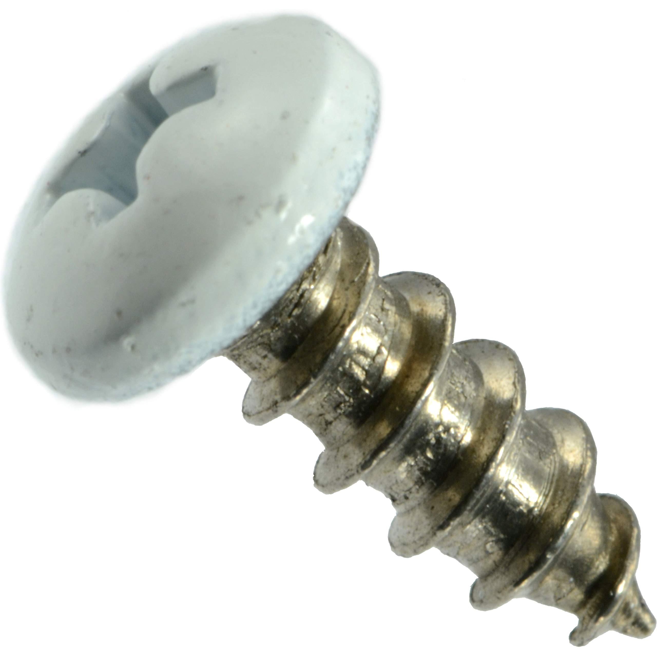 8 x 2 Hard-to-Find Fastener 014973208103 White Phillips Pan Sheet Metal Screws Piece-100