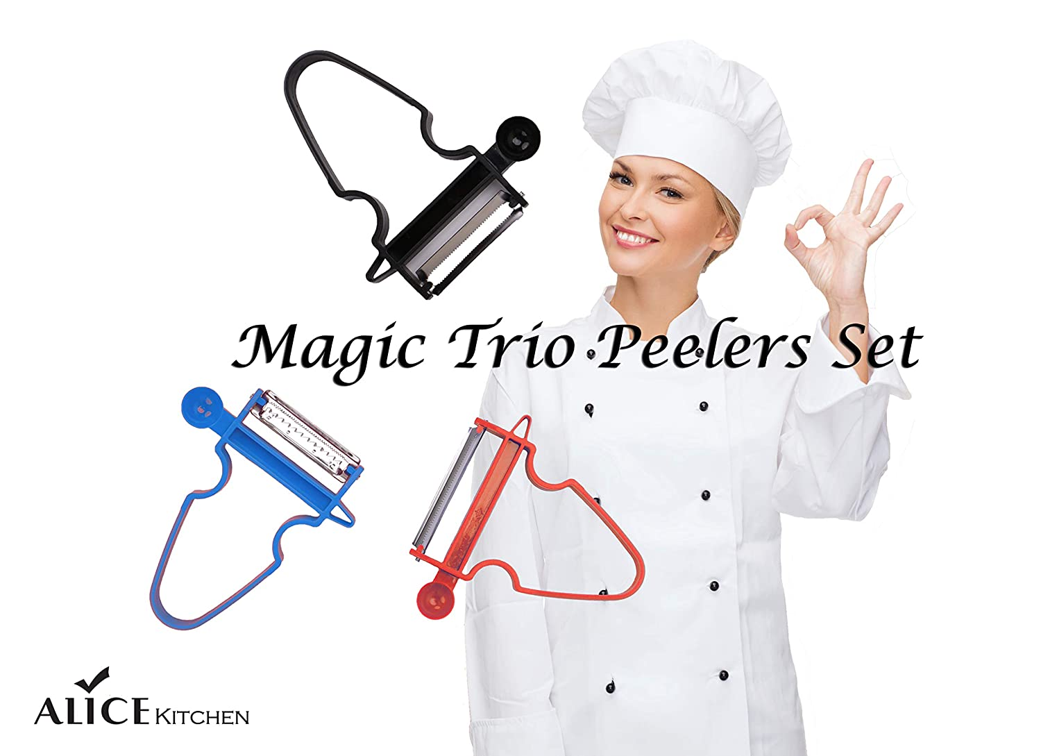 Magic Trio Peelers Set of 3,Quick,Simple,Convenient Slicer Kitchen Tool Set for Any Vegetables and Fruits by Alice Kitchen BHBUSAZIN029315