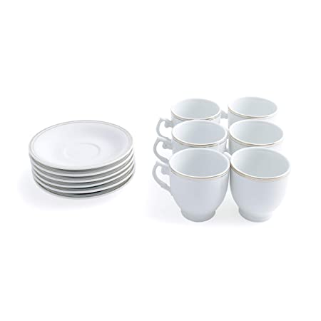Beautiful and Vintage Cup and Saucer Set to be Used for Kitchen or Gifting Royalford 6 Pcs Expresso Coffee Cup /& Saucer