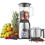 VonShef 1000W Glass Jug Food Blender Smoothie Maker - Ice Crushing & Pulse Function - Stainless Steel Coffee/Spice Grinder Attachment