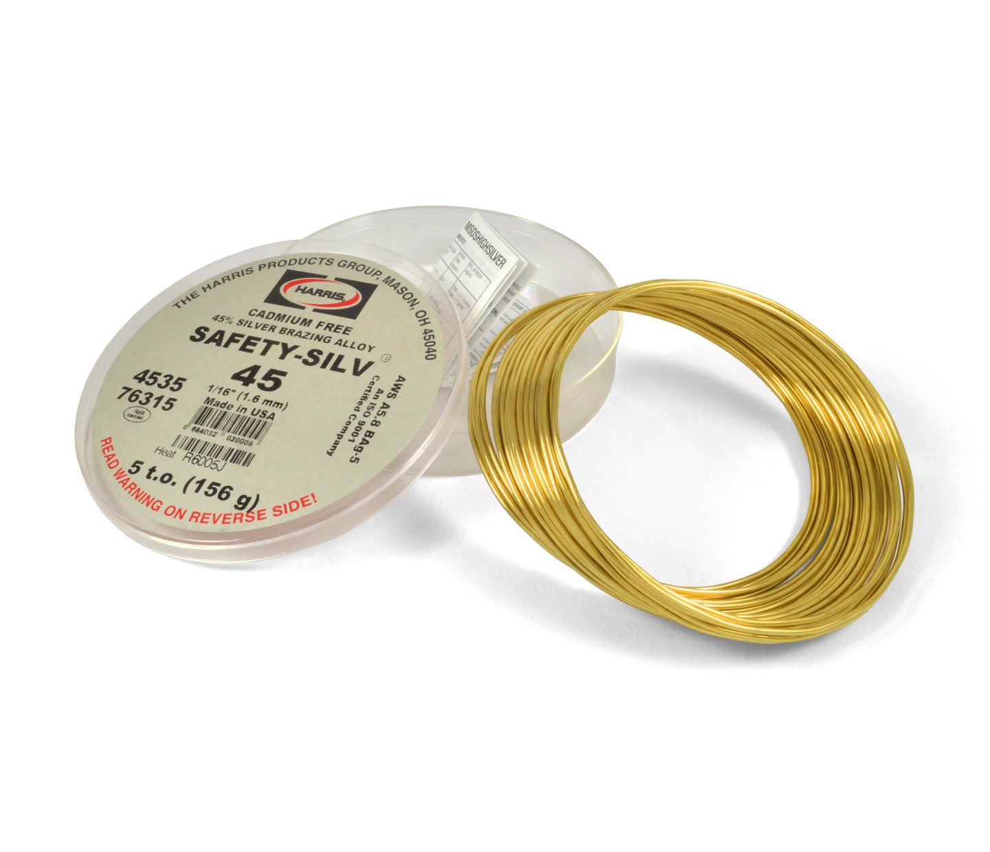 Harris Safety-Silv 45% 1/16 Silver Solder Brazing Alloy 5 Troy Ounce, 76315 4535 by Harris (Image #1)