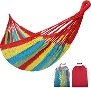 HappyPicnic 10FT x10FT Family Hammock Portable Mayan Hammock with Carry Bag Matrimonial Size Multi-Color Handmade Yucatan Hammock for Travel Camping Backyard, Porch, Outdoor or Indoor Use