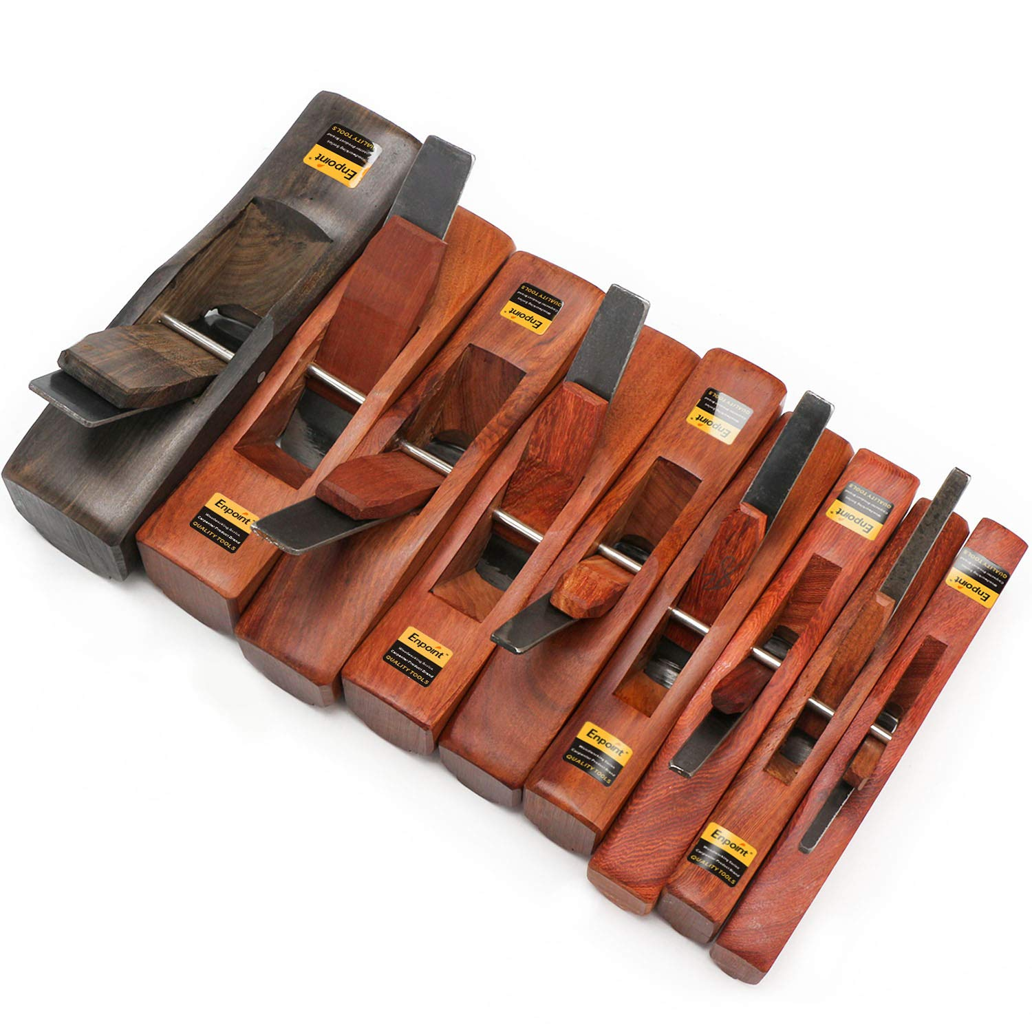 Hand Wood Plane Set, EnPoint Hand Planes Set Chamfer Plane Slot Plane Woodworking Groove Veining Planer Hand Tool with 6/8/10/13/16/19/22/25/32mm High Carbon Blade for Woodcarver Carftsman - 9PCS