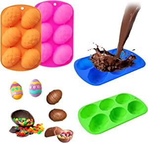 ForTomorrow 4 Pack EasterEggShaped 6 Cavity Chocolate Silicone Mold, 3d Resin Molds Easter Eggs for Cake, Candy, Baking Muffin, Cupcake, Jello, Soap, Bath Bomb, Ice Cube