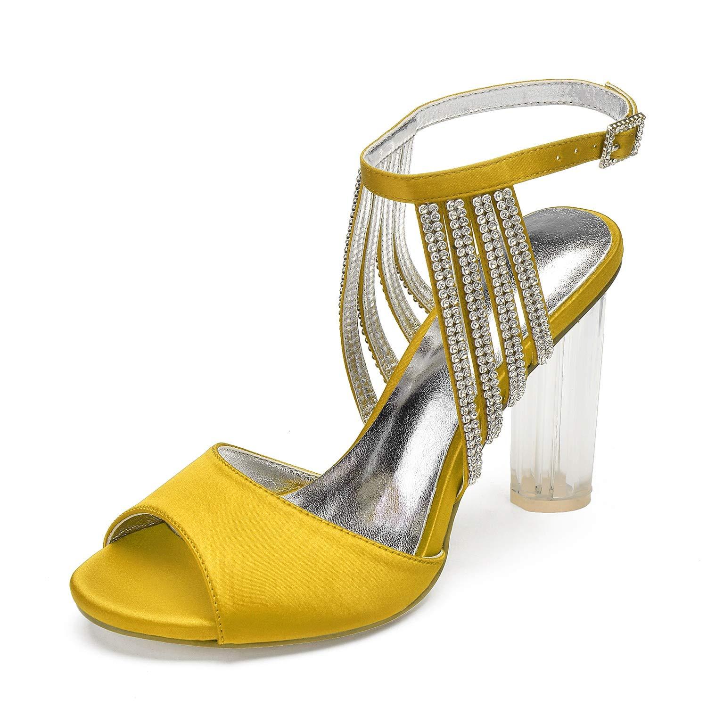 jaune Elobaby Femmes Chaussures De Mariage Ivoire Boucle Talons Chaton Satin Rond Brillant Peep Toe Bridal Mid   10,5 Cm Talon