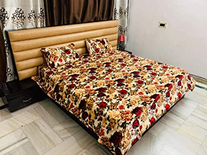 Magnetic Shadow Woolen Velvet Bedsheet with 2 Pillow Covers, 230 x 250 cm (Multicolour)