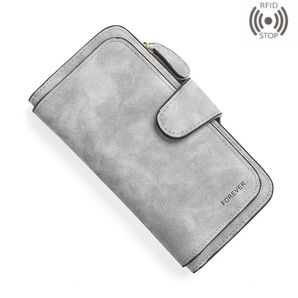 Women Girls Wallet Vintage Matte Clutch Card Holder Buckle Zipper Snap Closure Coin Purse Long Travel Purse (Grey 2)