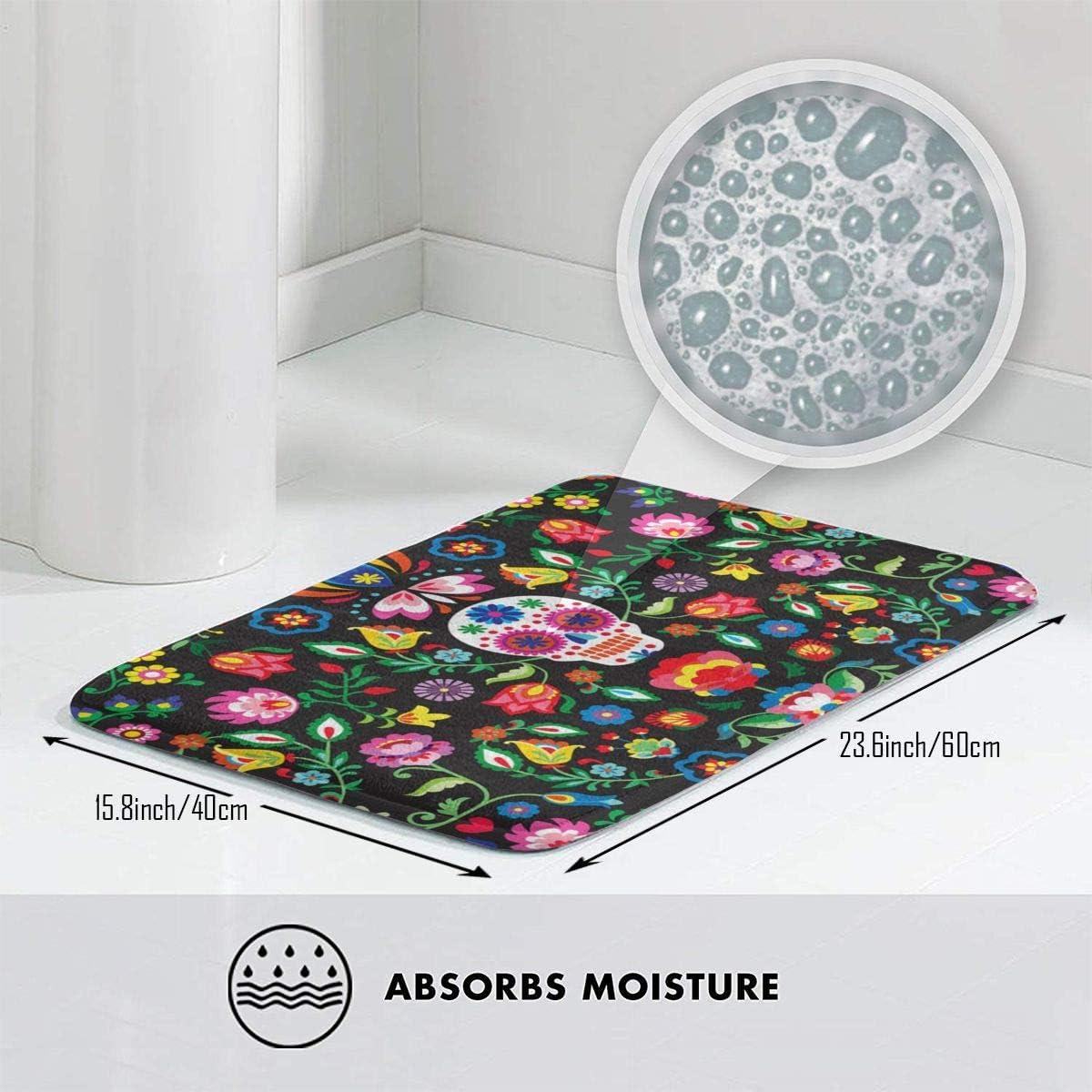 S Non Slip Decor Bathroom Mats Day Of The Dead Sugarkull Girl Print Non Slip Rubber Kitchen Rugs 40cm X 60cm