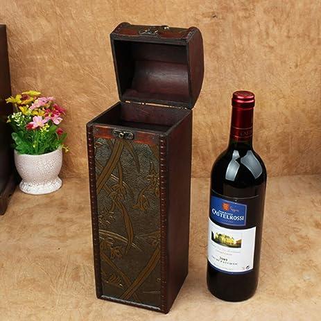 European Style Wooden Retro Single Bottle Wine Storage Box Treasure Chest with Handle & Amazon.com: European Style Wooden Retro Single Bottle Wine Storage ...