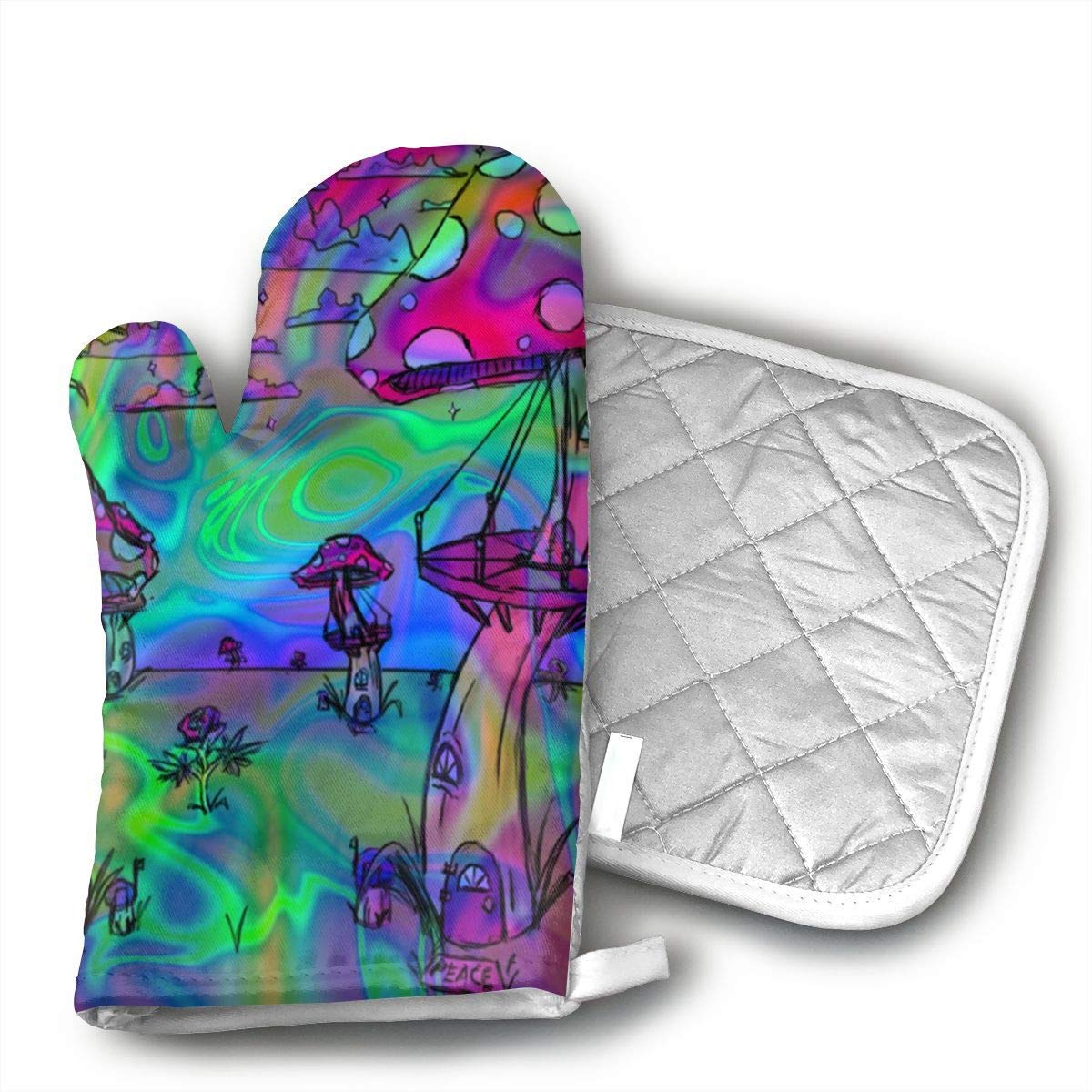 NoveltyGloves Psychedelic Trippy Wallpaper Kitchen Oven Mitts,Professional Heat Resistant Microwave BBQ Oven Insulation Thickening Cotton Gloves Baking Pot Mitts Soft Inner Lining Kitchen Cooking