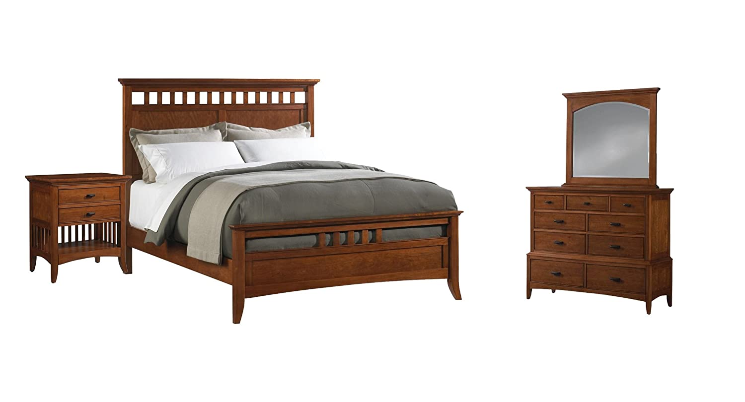 Cresent Fine Modern Shaker Bedroom Set with California King Bed - Dresser - Mirror and Nightstand