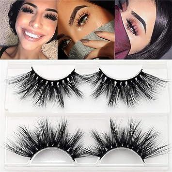 bc4ccf33ed8 Amazon.com : 100% Real 5D Mink Fur 25mm False Eyelashes Thick Long Cross  Eye Lashes Extension (LON 24) : Beauty