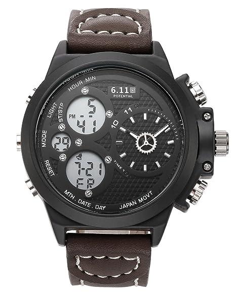 JSDDE Reloj Hombres Reloj Simple pila reloj gruesa reloj relojes piel relojes Junior cuarzo Analogue