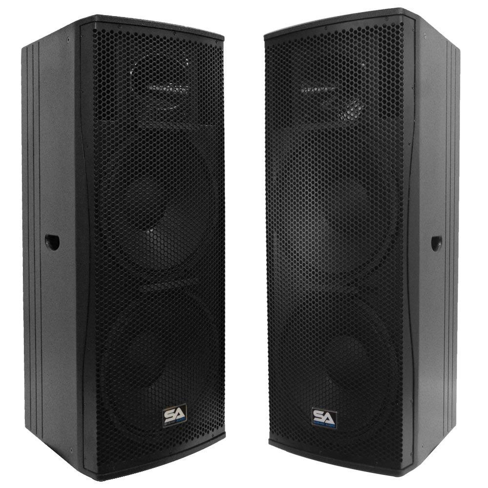 Seismic Audio - Magma-215-Pair - Pair of Premium Dual 15'' Full Range / Bi-Amp 2-Way Loudspeaker Cabinets - 1000 Watts RMS Each - PA/DJ Band Live Sound