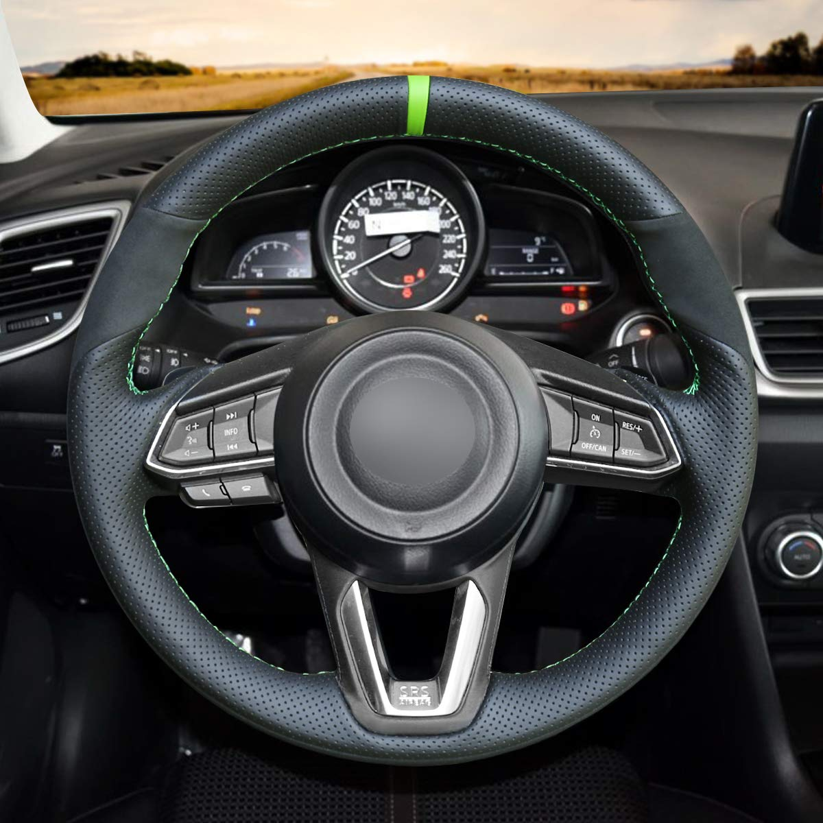 MEWANT Customized Black Artificial Leather Car Steering Wheel Cover for Mazda 3 2017-2018 Mazda 6 2017-2018 CX-3 2018-2019 CX-5 2017-2019 CX-9 2016-2019 for Toyota Yaris 2019