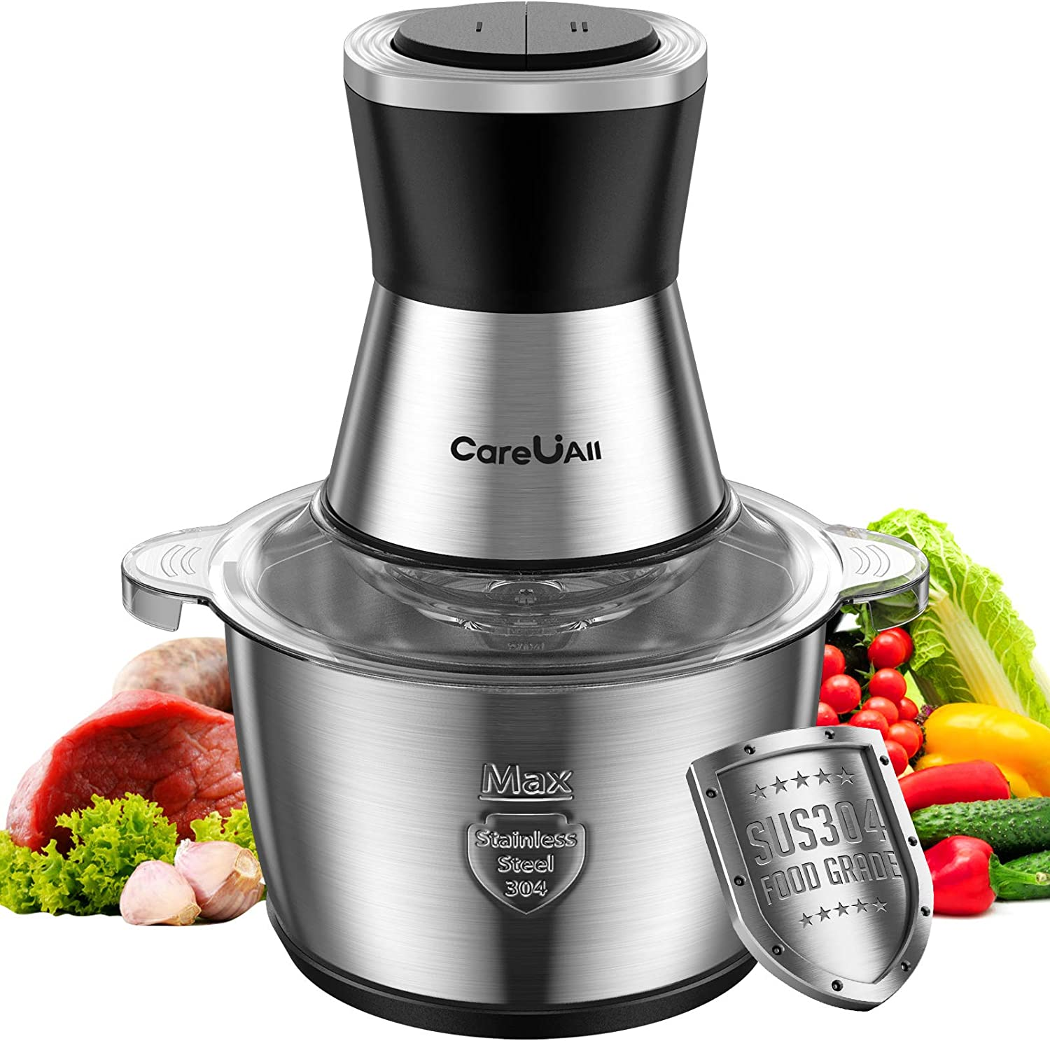 Electric Food Processor, 8 Cups Countertop Vegetable Chopper Meat Grinder Mincer for Fruits Nuts Spices 2L Food Grade Stainless Steel Bowl 4 Sharp Blades 400W Max Motor Efficient Kitchen Appliance