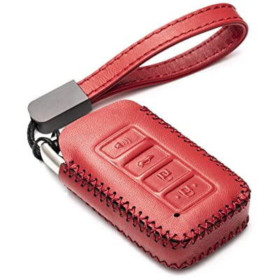 Vitodeco Genuine Leather Smart Key Fob Case Cover Protector with Leather Key Chain for 2014-2020 Lexus UX, NX, RX, GX, LX, is, ES, GS, LS (4-Button, Red): Automotive