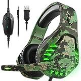 ENVEL - Auriculares de diadema con cancelación de ruido y sonido envolvente 7.1 para PS4/Nintendo eShop, micrófono omnidireccional, luz LED compatible con Mac/PC/Laptop/Mac/PS3 Camo, Verde (Green Camo), Large Medium Small