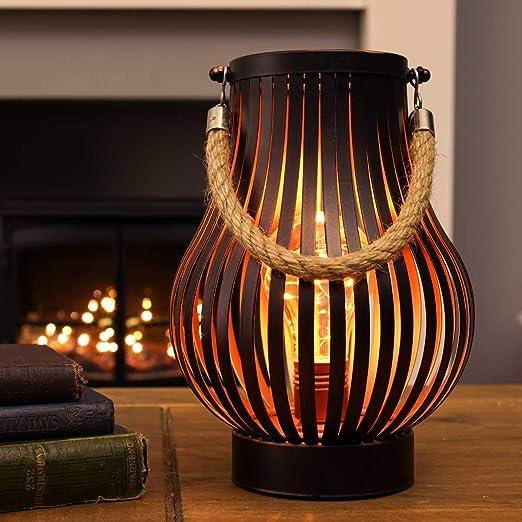 Festive Lights - Farol de bronce a pilas para exteriores con luz ...