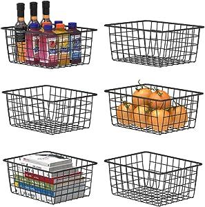 Wire Storage Basket, F-color 6 Pack Metal Baskets for Storage Organizer Bin for Pantry, Shelf, Freezer, Kitchen, Cabinet, Bathroom, Small, Black