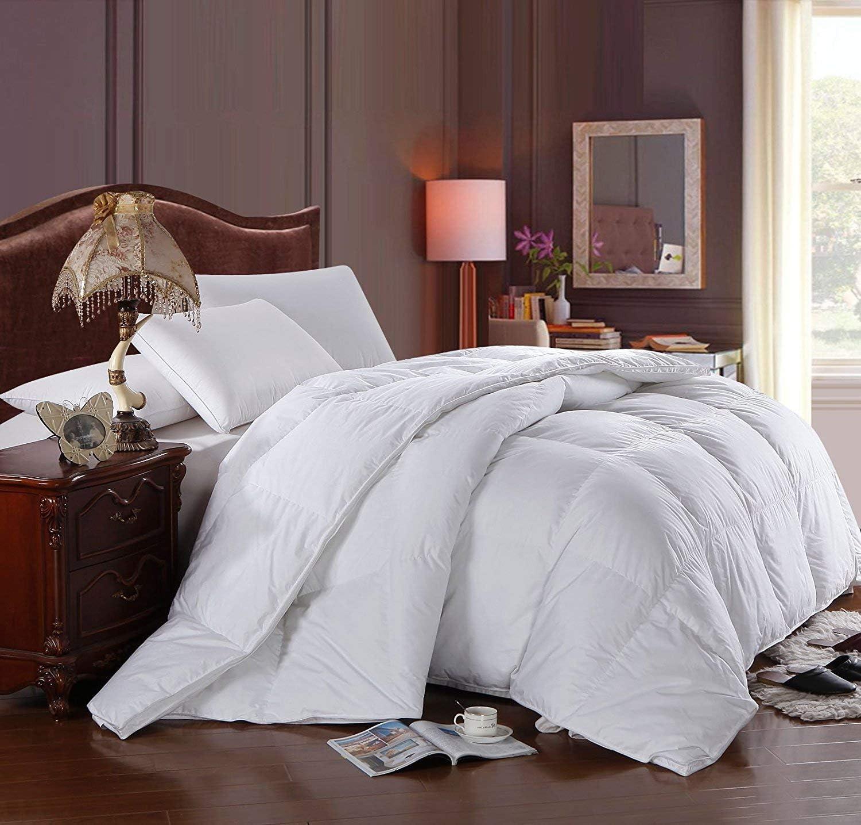 Royal Hotel Light Hypoallergenic Oversized Queen Size Down Comforter Duvet Insert, 600 Fill Power 100% Cotton Shell Down Proof Insert Comforter with Corner tabs