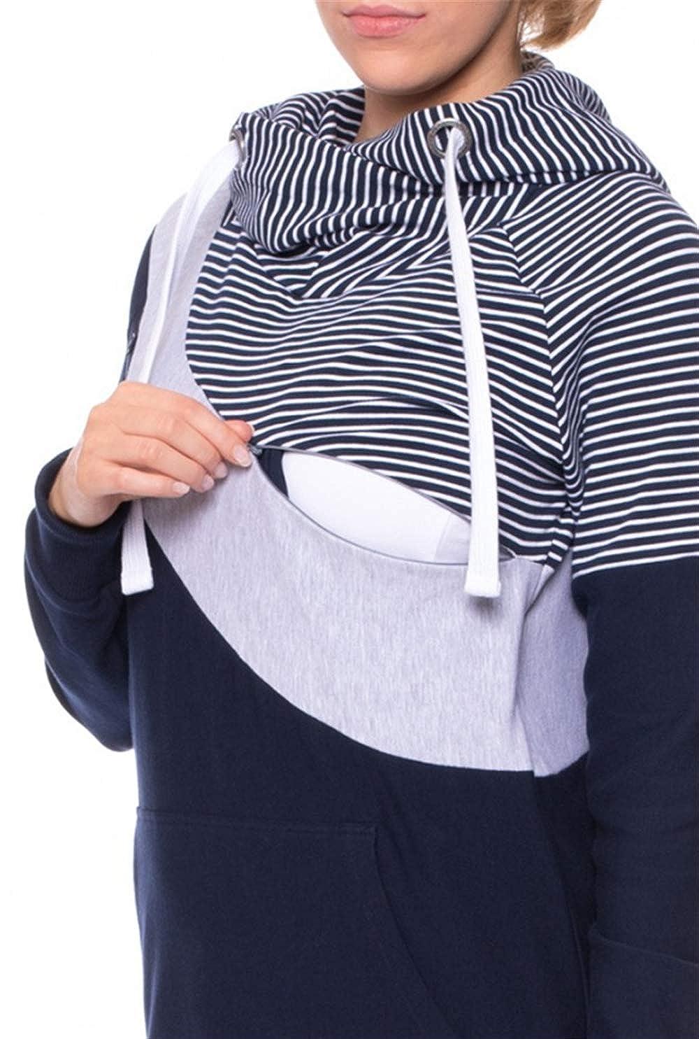 Pregnant Woman Pajamas Ultra Soft Maternity /& Nursing Pajama Set Pregnancy Sleepwear Stripe Pregnant Maternity Hooded Tops Blouse Outwear Clothes Breastfeeding Long Sleeve Clothes