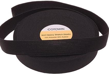 Heavy Duty COTOWIN 1-inch Wide Black Heavy Knit Heavy Elastic 10 Yards