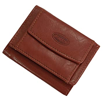 ca5f6eab568d2 BOCCX trendige Leder Mini-Geldbörse Geldbeutel Mini Herren Portemonnaie  10025 (Braun)