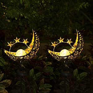 Solar Lights Outdoor Decorative - 2 Pack Metal Moon Stakes Lights Garden Art Crackle Glass Globe Lights for Patio, Lawn, Pathway, Yard (Moon)