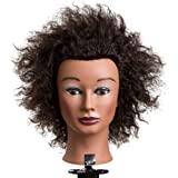 xnicx Afro 100% Cosmetology Mannequin Head Female Training Human Hair