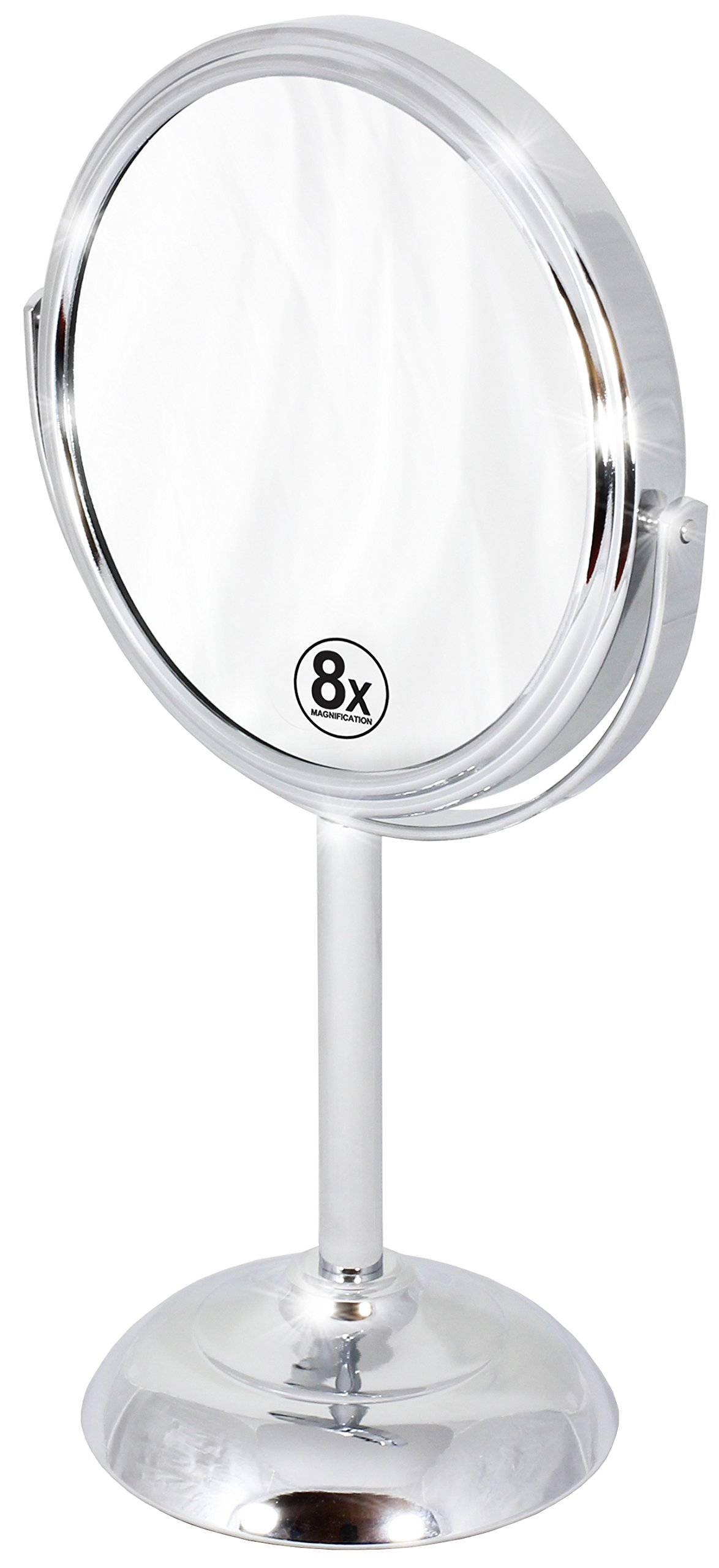 Decobros 6-inch Tabletop Two-Sided Swivel Vanity Mirror with 8x Magnification, 11-inch Height, Chrome Finish by DECOBROS