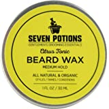 Seven Potions Beard Wax 30 ml. Natural And Organic Beard Styling Wax For Medium Hold. Shape And Nourish Your Beard While Looking Natural. Doesn't Make The Beard Stiff