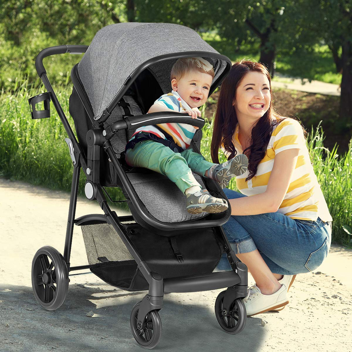 Pushchair with Foot Cover 2 in 1 Convertible Carriage Bassinet to Stroller Large Storage Space Gray Cup Holder BABY JOY Baby Stroller Wheels Suspension 5-Point Harness