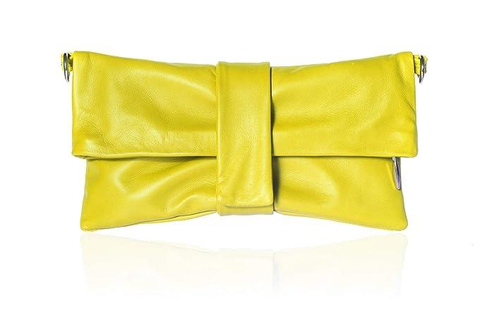 2ef17bd36e Borsa pochette clutch da donna, vera pelle gialla fatto a mano in Italia,  con