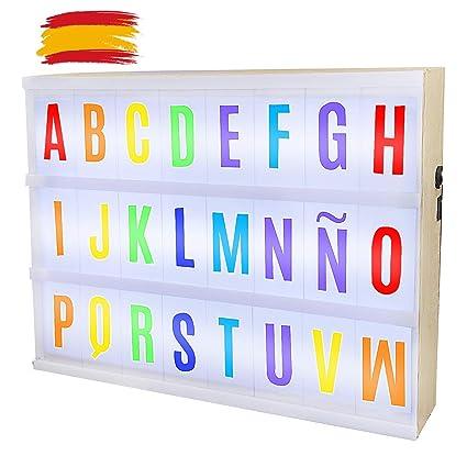 Caja Madera De Luz Led A4 85 Cartas De Color Con Letras