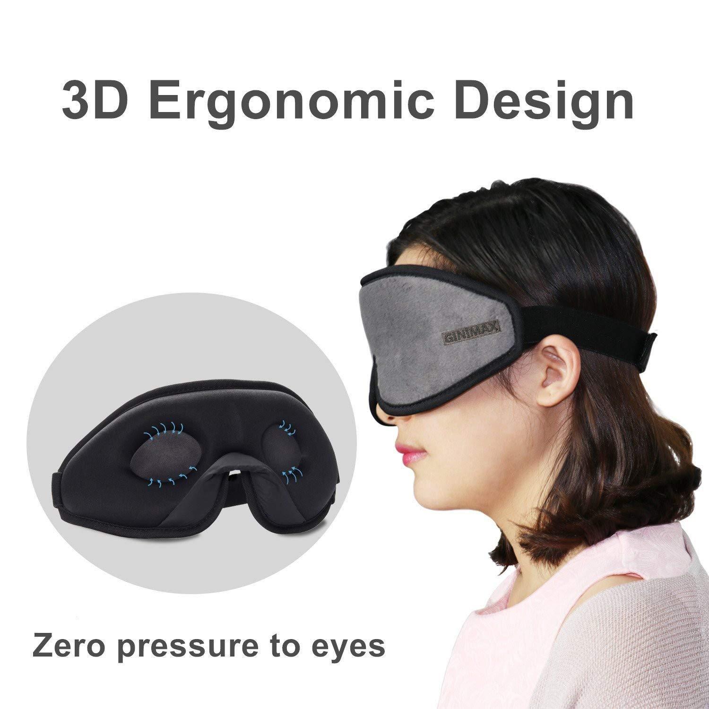 GINIMAX Masque de sommeil 3D en mousse /à m/émoire de forme bloquant la lumi/ère avec sangle r/églable pour dormir travail de nuit pour homme et femme