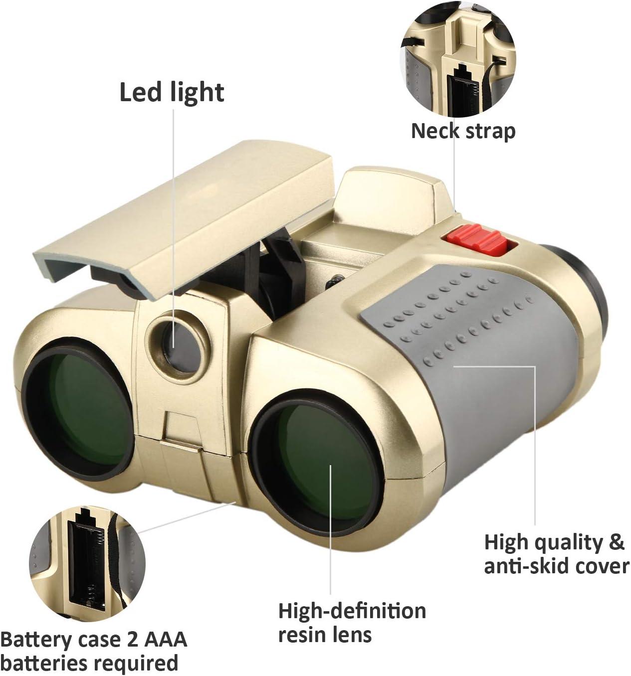HQMaster 4x30mm Binocular Night Beam Vision Scope with Pop-up Spotlight Fun Cool Toy Gift for Kids Boys Girls