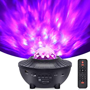 Night Light Projector with Remote Control, Galaxy Star Light Projector with LED Nebula Cloud and Moving Ocean Wave Projector for Bedroom, Party and Holiday, Built-in Music Speaker, Voice Control