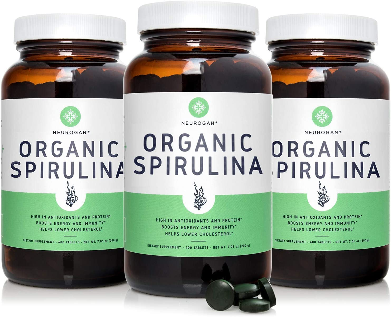Neurogan Organic Spirulina Tablets USDA Certified, 500mg Tablets, 3-Pack – Raw, Natural & Pure Vegan Algae Superfood Rich in Vitamins, Minerals & Protein – Non-Irradiated, Non-GMO