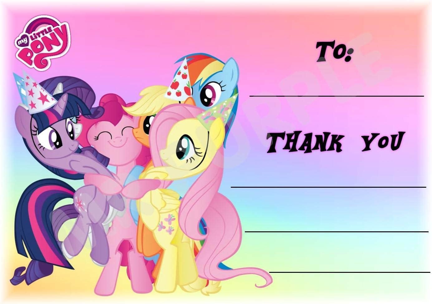 My Little Pony – gracias por venir fiesta tarjetas – Paisaje diseño de arco iris – fiesta suministros/accesorios (Pack de 12 A6 tarjetas de agradecimiento) WITHOUT Envelopes: Amazon.es: Oficina y papelería