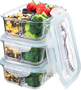 Glass Meal Prep Containers 3 Compartment - Bento Box Glass Lunch Containers - Meal Prep Glass Container - Food Storage Containers with Lids - Portion Control Food Containers Glass(3-Pack,36 OZ)