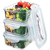 Glass Meal Prep Containers 3 Compartment - Bento Box Glass Lunch Containers - Meal Prep Glass Container - Food Storage…