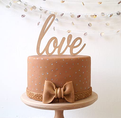 Amazon.com: Wedding cake topper, wooden LOVE cake topper, simple ...