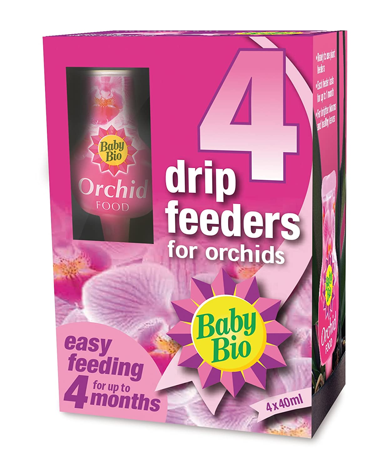 Baby Bio Orchid Drip Feeders, Ready to Use Plant Feed, 4 x 40 ml SBM Life Science 80949014