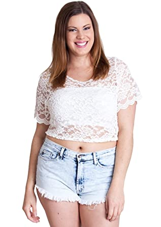e3d96276475 Ladies White Plus Size Floral Lace Sheer Short Sleeve Crop Top   Amazon.co.uk  Clothing